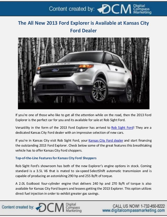 Ford Dealership Kansas City >> The All New 2013 Ford Explorer Is Available At Kansas City