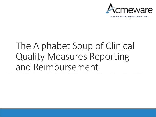 The Alphabet Soup of Clinical Quality Measures Reporting