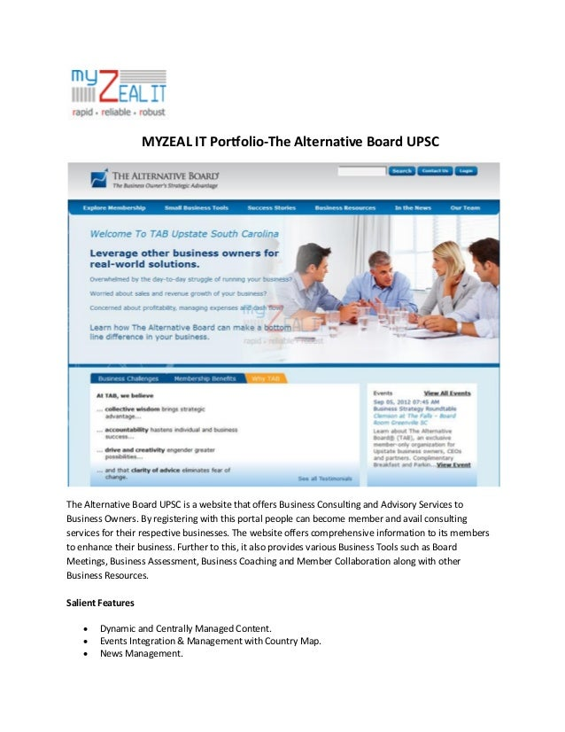 MYZEAL IT Portfolio-The Alternative Board UPSC  The Alternative Board UPSC is a website that offers Business Consulting an...