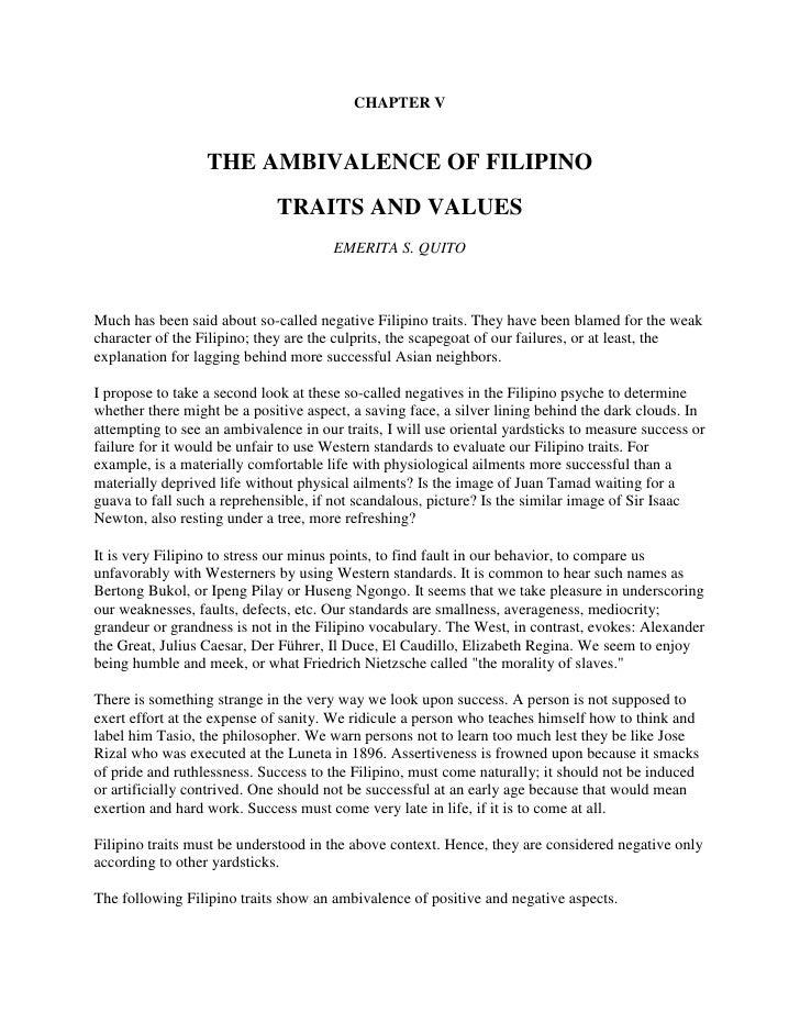 Characteristics of Filipinos