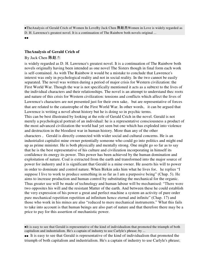 TheAnalysis of Gerald Crich of Women In LoveBy Jack Chen 陈赵杰Women in Love is widely regarded asD. H. Lawrences greatest no...