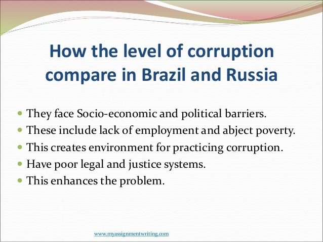 the two sides of corruption in russia essay Corruption in education is a serious blight that undermines the quality  in parts  of sub-saharan africa and asia this might be requiring  in cameroon and  russia see their education systems as corrupt or highly corrupt  in nigeria,  the report says, $21m (£13m) intended for schools was lost in two years.