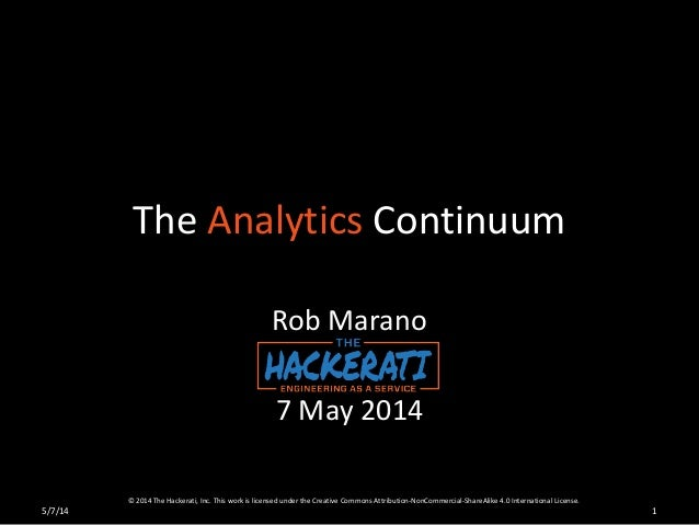 The Analytics Continuum Rob Marano 7 May 2014 15/7/14 © 2014 The Hackerati, Inc. This work is licensed under the Creative ...