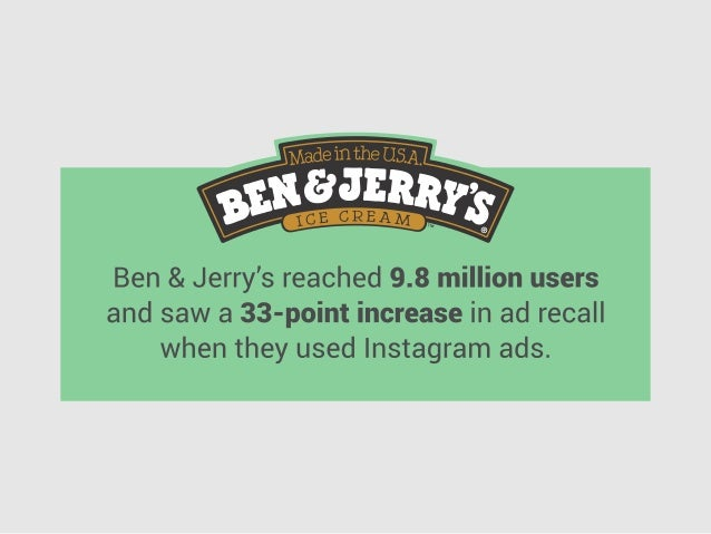 Ben & Jerry's reached 9.8 million users and saw a 33-point increase in ad recall when they used Instagram ads.