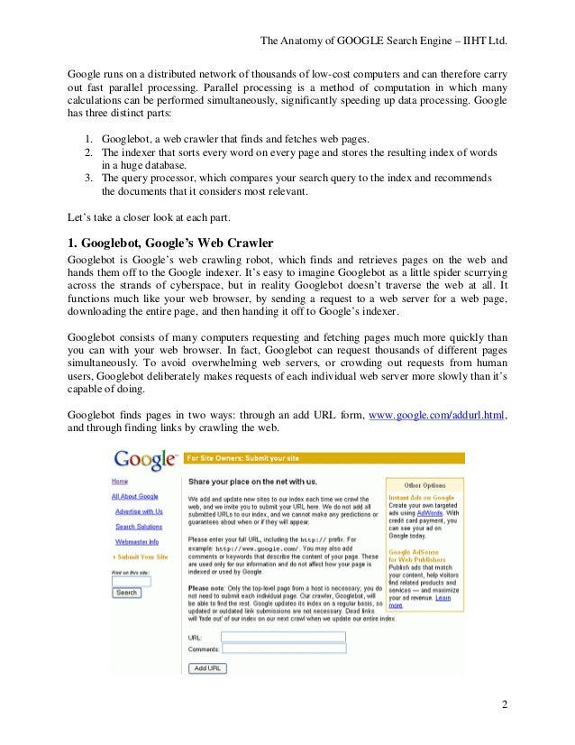 The Anatomy of GOOGLE Search Engine