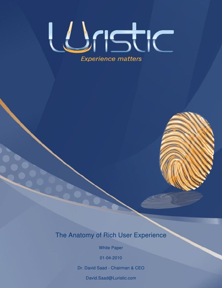 The Anatomy of Rich User Experience                White Paper                  01-04-2010        Dr. David Saad - Chairma...