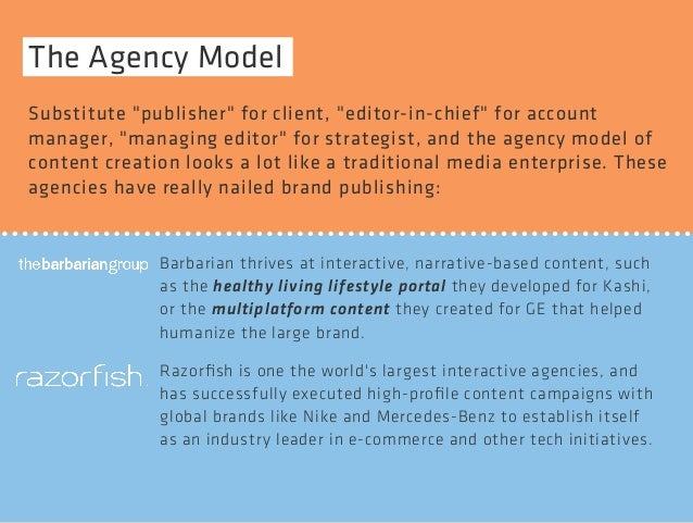 "The Agency Model  Substitute ""publisher"" for client, ""editor-in-chief"" for account  manager, ""managing editor"" for strateg..."