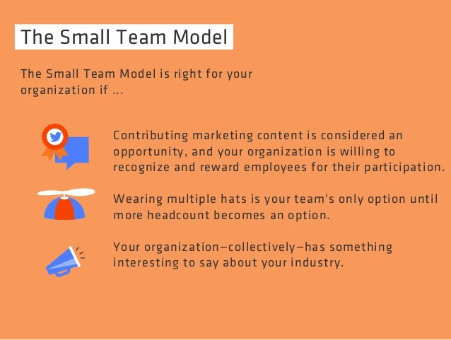 The Small Team Model  The Small Team Model is right for your  organization if ...  Contributing marketing content is consi...