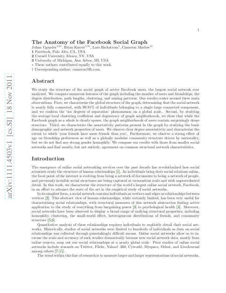 1                                        The Anatomy of the Facebook Social Graph                                        J...