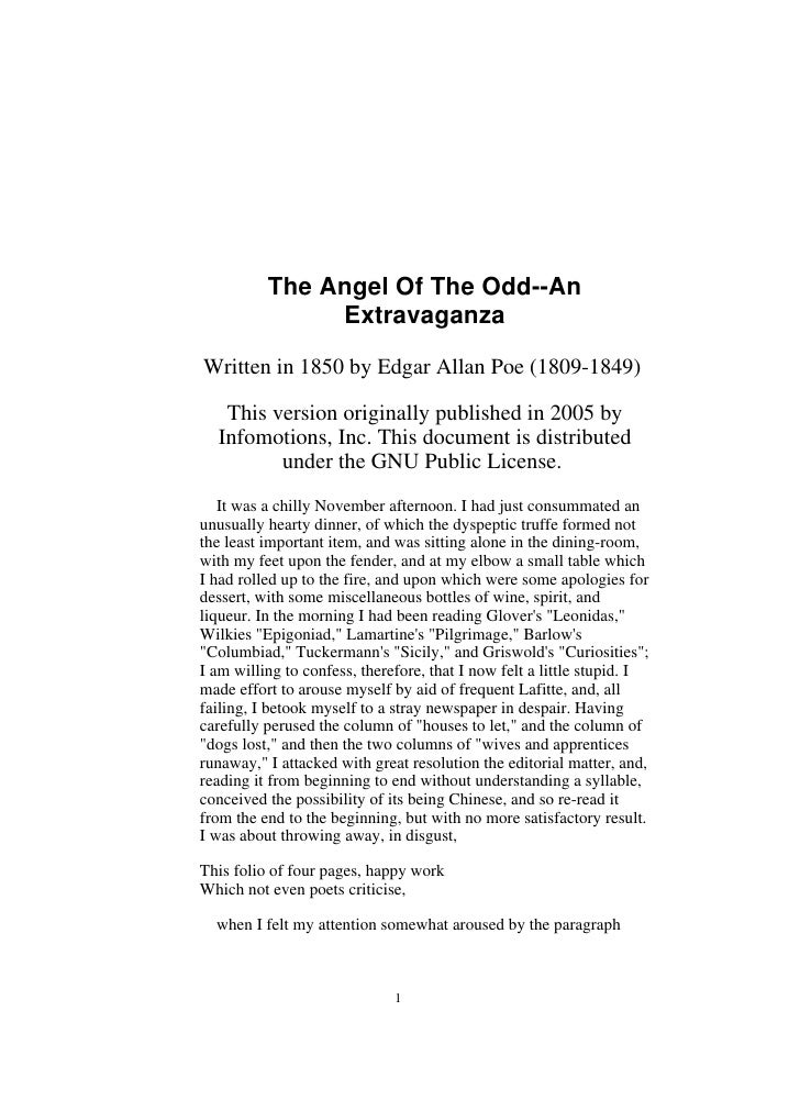 angel of the odd The angel of the odd by edgar allan poe updated with new added features ⚡ the angel of the odd by edgar allan poe is part of our short story annotation series designed to improve.