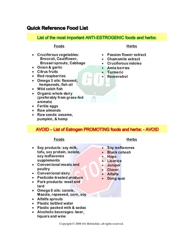 Foods to Eat for Low Estrogen Diet