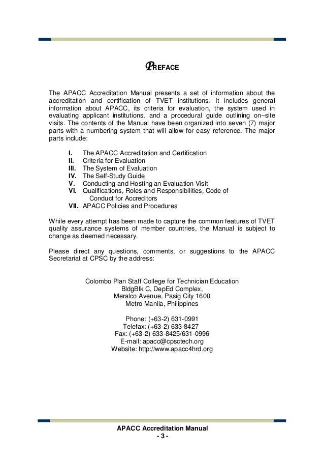 the apacc accreditation manual