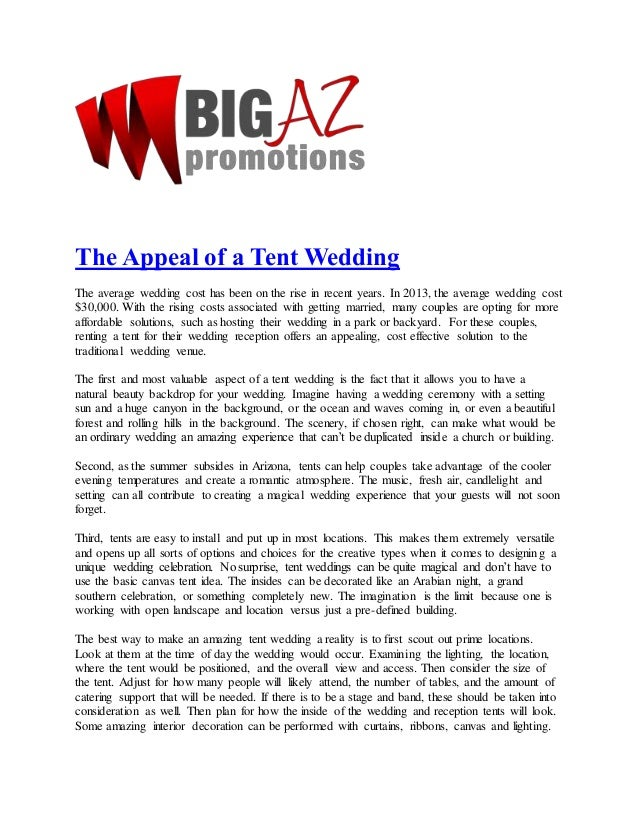 The Appeal Of A Tent Wedding Big Az Promotions