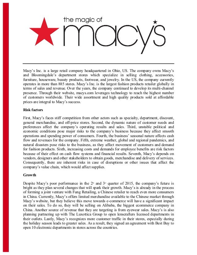 macys inc case essay Free essay: to begin, macy's inc is one of the nation's largest and well known  department store chains started over 150 years ago, macy's has.