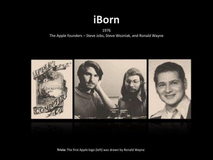 1976 The Apple founders – Steve Jobs, Steve Wozniak, and Ronald Wayne         Trivia: The first Apple logo (left) was draw...