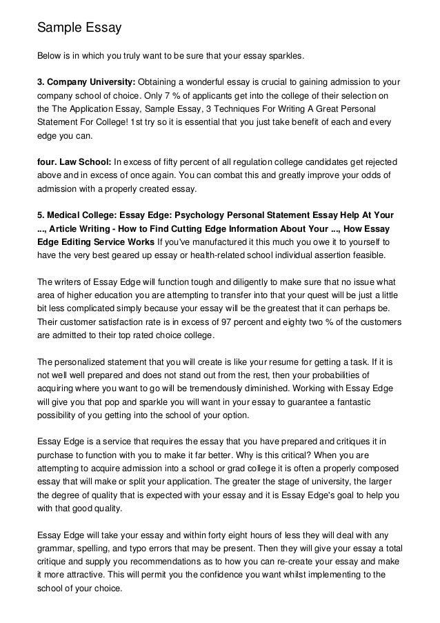 The Fountainhead Essay  Essay On Addiction also Description Of A Person Essay Essayedge Sample Essays  Sample College Essay And Graduate  Personal Experience Essays