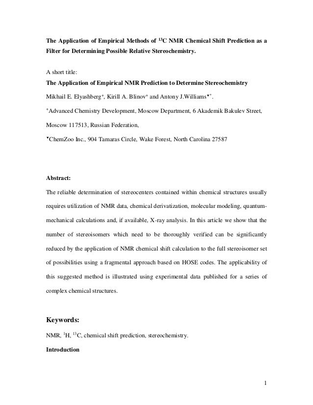 The Application of Empirical Methods of       13C   NMR Chemical Shift Prediction as aFilter for Determining Possible Rela...