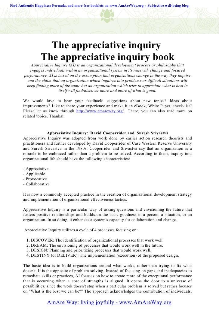 The appreciative inquiry   the appreciative inquiry book