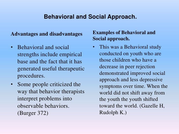 behaviourst approach The behavioral approach explained: introduction to the branches of behaviorism in psychology, assumptions of the approach and an evaluation.