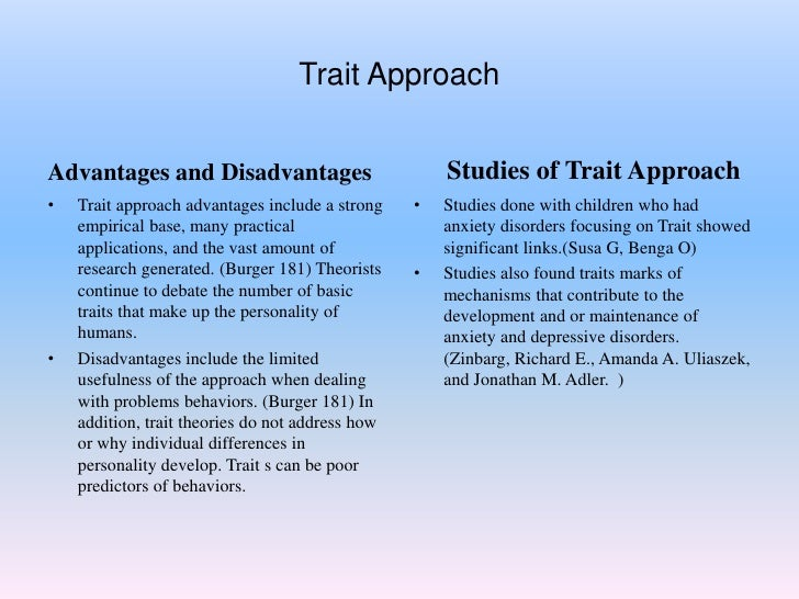 strengths and weaknesses of trait theory Strengths it is naturally pleasing theoryit is valid as lot of research has validated the foundation and basis of the theoryit serves as a.
