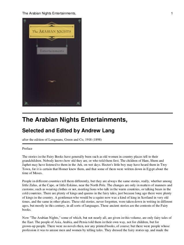 The Arabian Nights Entertainments,                                                                             1The Arabia...