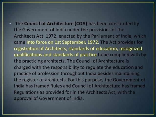 The architects act, 1972 Slide 2