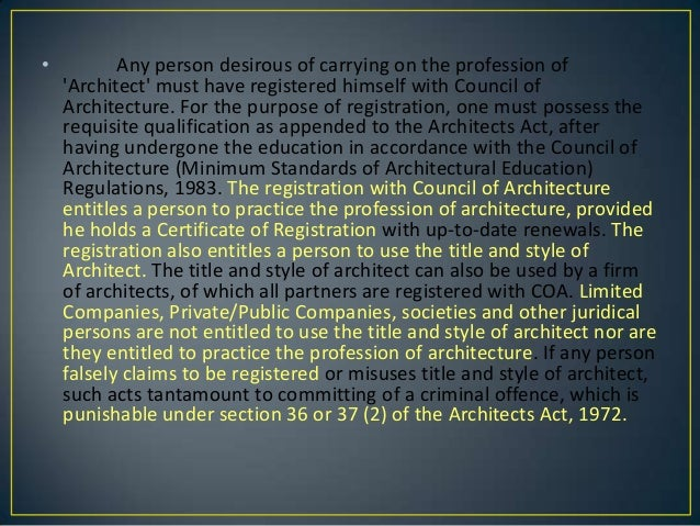 The architects act, 1972 Slide 3