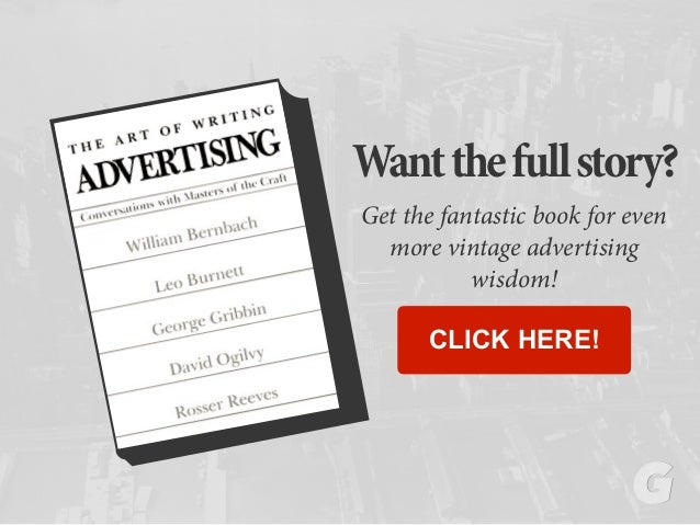 Wantthefullstory? Get the fantastic book for even more vintage advertising wisdom! CLICK HERE!