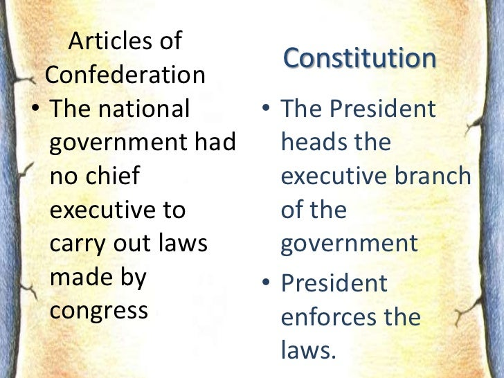 articles of confederation executive branch