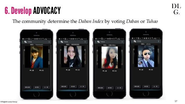 © Digital Luxury Group 27  The community determine the Daban Index by voting Daban or Tuhao  6. Develop ADVOCACY