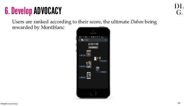 © Digital Luxury Group 28  Users are ranked according to their score, the ultimate Daban being rewarded by Montblanc  6. D...