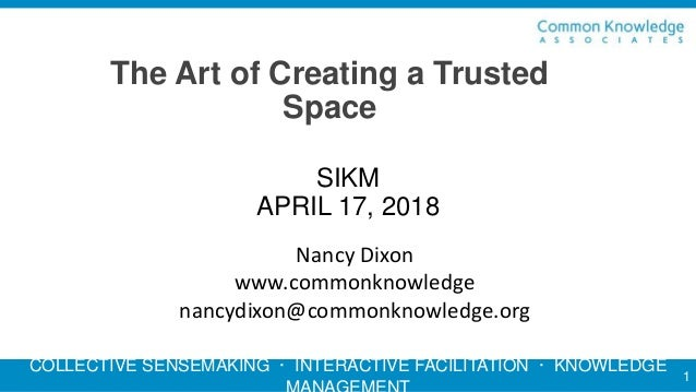 COLLECTIVE SENSEMAKING · INTERACTIVE FACILITATION · KNOWLEDGE The Art of Creating a Trusted Space 1 SIKM APRIL 17, 2018 Na...