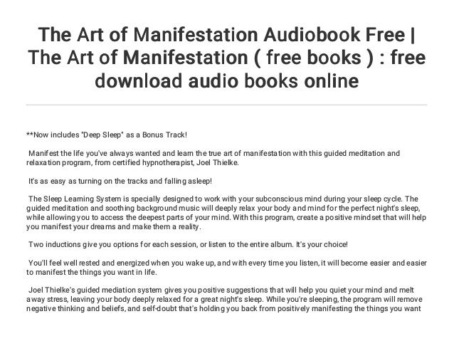 The Art of Manifestation Audiobook Free | The Art of