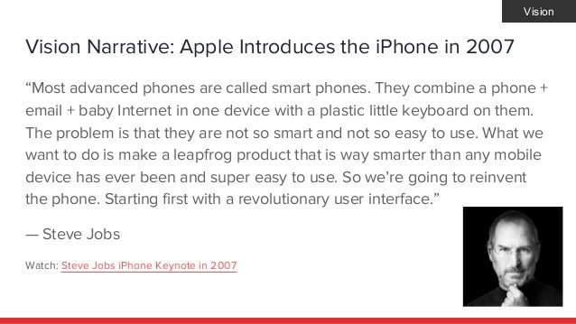 """Vision Narrative: Apple Introduces the iPhone in 2007 """"Most advanced phones are called smart phones. They combine a phone ..."""