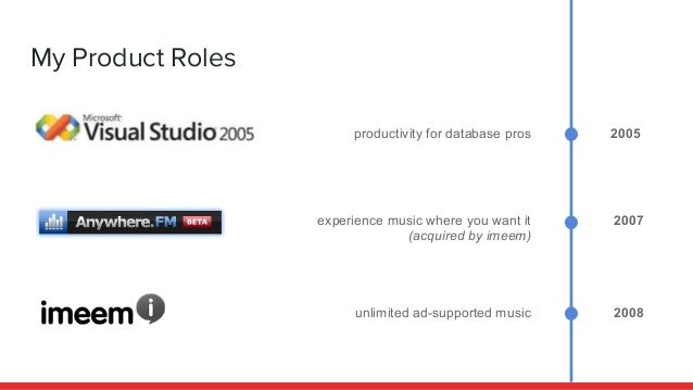 My Product Roles 2005 2007 2008 productivity for database pros experience music where you want it (acquired by imeem) unli...