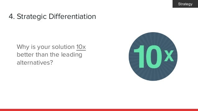 4. Strategic Differentiation Why is your solution 10x better than the leading alternatives? Strategy