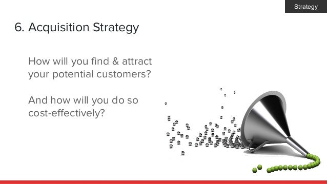 6. Acquisition Strategy How will you find & attract your potential customers? And how will you do so cost-effectively? Str...