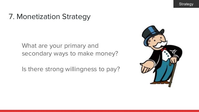 7. Monetization Strategy What are your primary and secondary ways to make money? Is there strong willingness to pay? Strat...