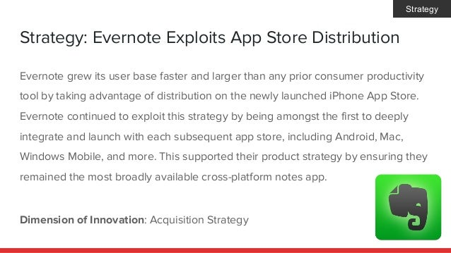 Strategy: Evernote Exploits App Store Distribution Dimension of Innovation: Acquisition Strategy Evernote grew its user ba...
