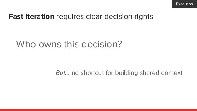 Fast iteration requires clear decision rights Who owns this decision? But… no shortcut for building shared context Executi...