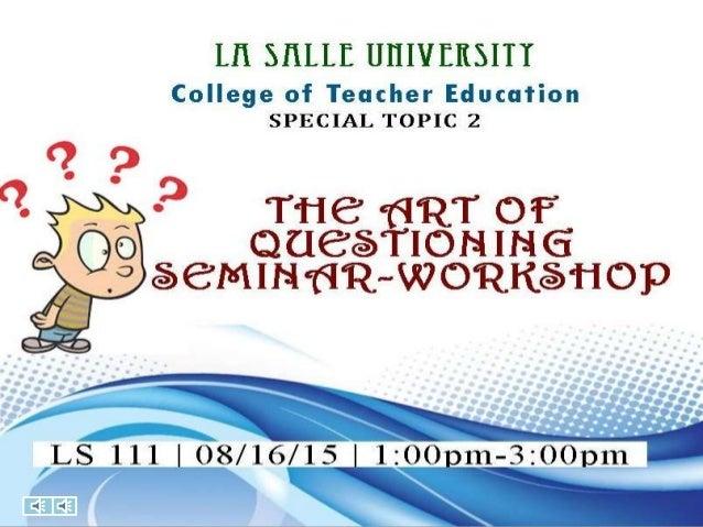 The Art of Questioning : Teacher's Role