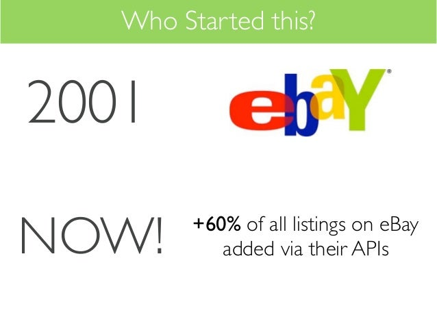 Who Started this?2001NOW!     +60% of all listings on eBay            added via their APIs