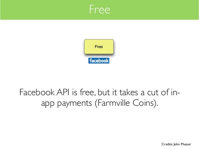 FreeFacebook API is free, but it takes a cut of in-     app payments (Farmville Coins).                                   ...