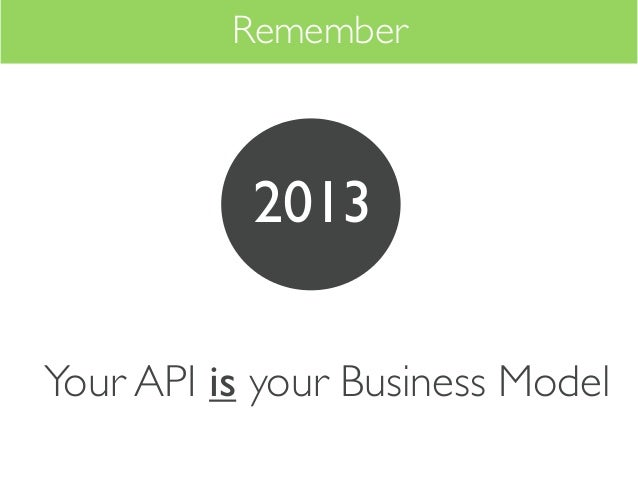 Remember           2013Your API is your Business Model