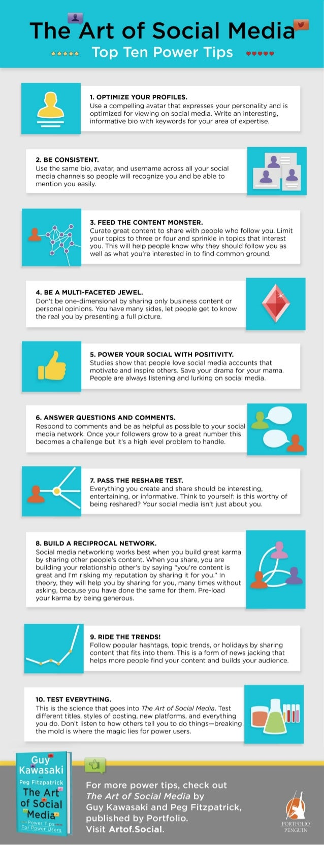 The Art of Social Media Power Tips Infographic