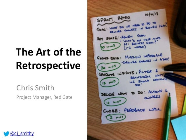 The Art of the Retrospective Chris Smith Project Manager, Red Gate @cj_smithy