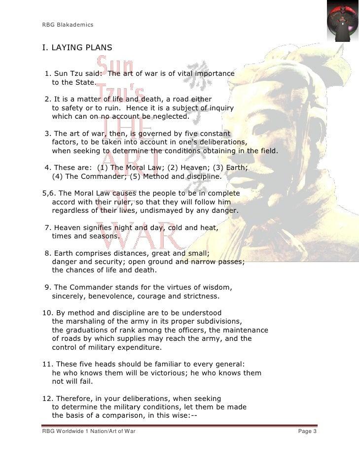 RBG BlakademicsI. LAYING PLANS1. Sun Tzu said: The art of war is of vital importance  to the State.2. It is a matter of li...