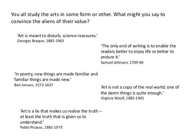 Art upsets, science reassures Essay Sample