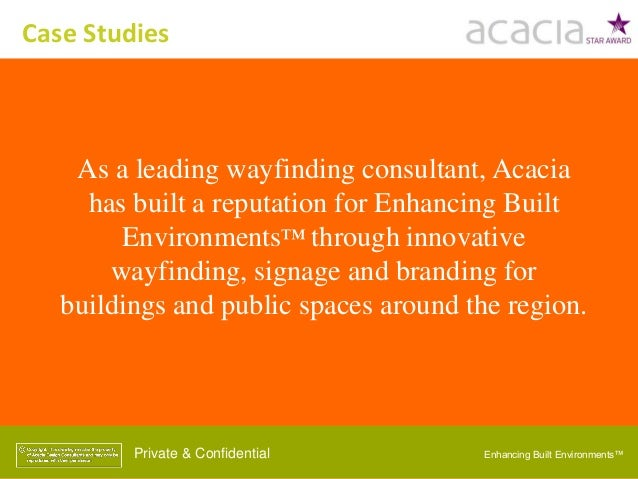 Enhancing Built Environments™Private & Confidential As a leading wayfinding consultant, Acacia has built a reputation for ...