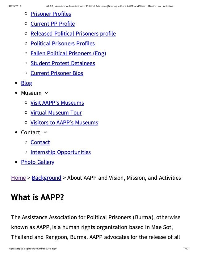 11/19/2019 AAPP | Assistance Association for Political Prisoners (Burma) » About AAPP and Vision, Mission, and Activities ...